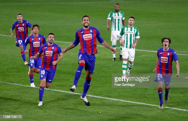 Esteban Burgos of Eibar celebrates after scoring their team's second goal from the penalty spot during the La Liga Santander match between Real Betis...