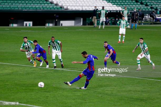 Esteban Burgos of Eibar scores their team's second goal from the penalty spot during the La Liga Santander match between Real Betis and SD Eibar at...