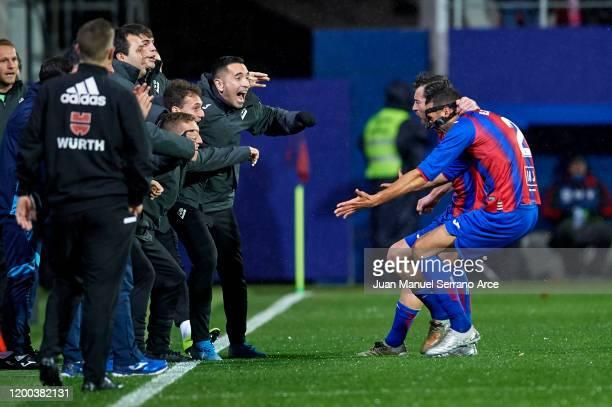 Esteban Burgos of SD Eibar celebrates after scoring the first goal of his team during the Liga match between SD Eibar SAD and Club Atletico de Madrid...