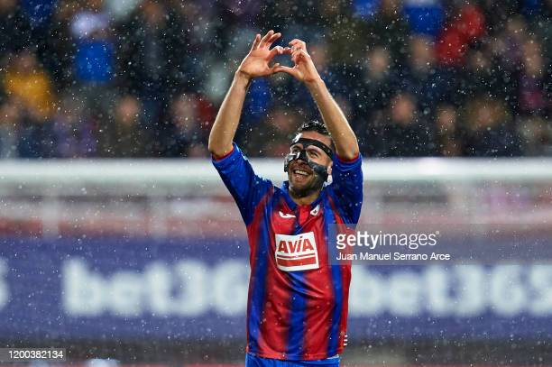 Esteban Burgos of SD Eibar celebrates after scoring the first goal of his team during the Liga match between SD Eibar SAD and Club Atletico de Madrid...