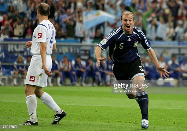 Esteban Cambiasso of Argentina celebrates scoring the second goal during the FIFA World Cup Germany 2006 Group C match between Argentina and Serbia &...