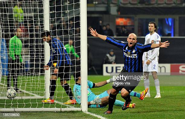 Esteban Cambiasso of FC Inter Milan celebrates scoring the first goal during the UEFA Champions League group B match between FC Internazionale Milano...