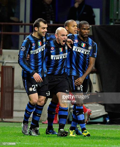 Esteban Cambiasso of FC Internazionale Milano celebrates scoring the first goal during the UEFA Champions League Group A match between FC...