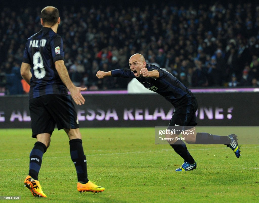 Esteban Cambiasso of Inter celebrates after scoring his team's first goal to equalise during the Serie A match between SSC Napoli vs FC Internazionale Milano at Stadio San Paolo on December 15, 2013 in Naples, Italy.