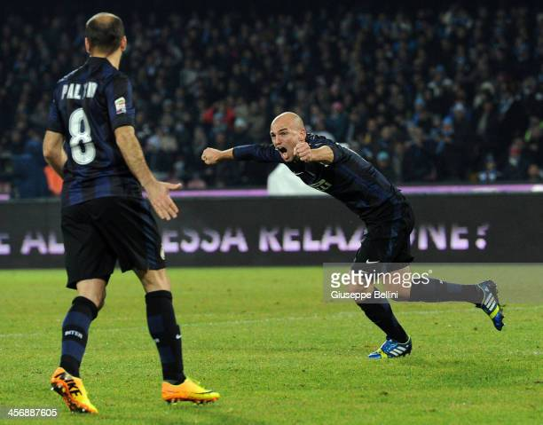 Esteban Cambiasso of Inter celebrates after scoring his team's first goal to equalise during the Serie A match between SSC Napoli vs FC...
