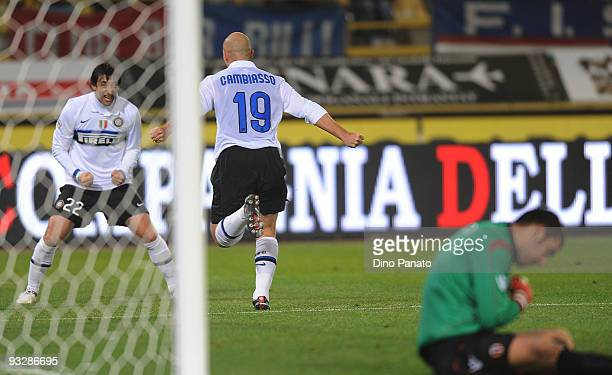 Esteban Cambiasso of Inter celebrates after scoring Internazionale's third goal during the Serie A match between Bologna and Inter Milan at Stadio...