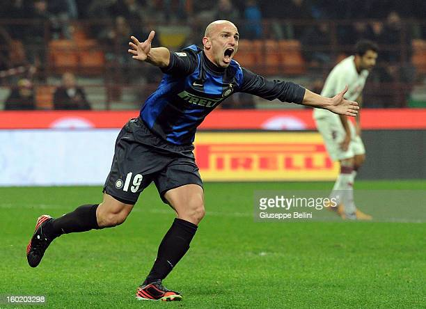Esteban Cambiasso of Inter celebrates after scoring the goal 22 during the Serie A match between FC Internazionale Milano and Torino FC at San Siro...