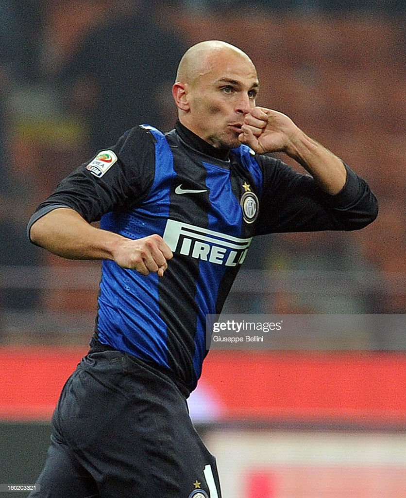 Esteban Cambiasso of Inter celebrates after scoring the goal 2-2 during the Serie A match between FC Internazionale Milano and Torino FC at San Siro Stadium on January 27, 2013 in Milan, Italy.