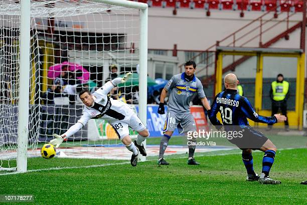 Esteban Cambiasso of Inter FC scores the third goal during the Serie A match between Inter and Parma at Stadio Giuseppe Meazza on November 28 2010 in...