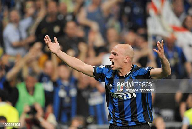 Esteban Cambiasso of Inter Milan celebrates the second goal during the UEFA Champions League Final match between Bayern Munich and Inter Milan at the...
