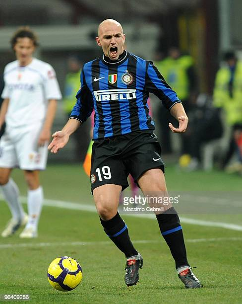 Esteban Cambiasso of Internazionale Milan reacts during the first leg semifinal Tim Cup between FC Internazionale Milano and ACF Fiorentina at Stadio...