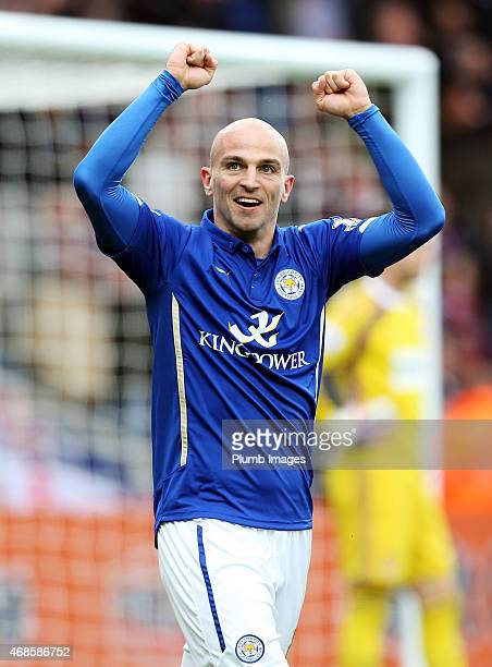 Esteban Cambiasso of Leicester City celebrates after scoring to make it 10 during the Premier League match between Leicester City and West Ham United...