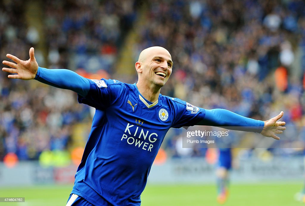 Esteban Cambiasso of Leicester City celebrates after scoring to make it 4-0 during the Barclays Premier League match between Leicester City and Queens Park Rangers at The King Power Stadium on May 24, 2015 in Leicester, England.