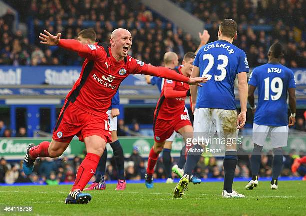Esteban Cambiasso of Leicester City celebrates as he scores their second goal during the Barclays Premier League match between Everton and Leicester...
