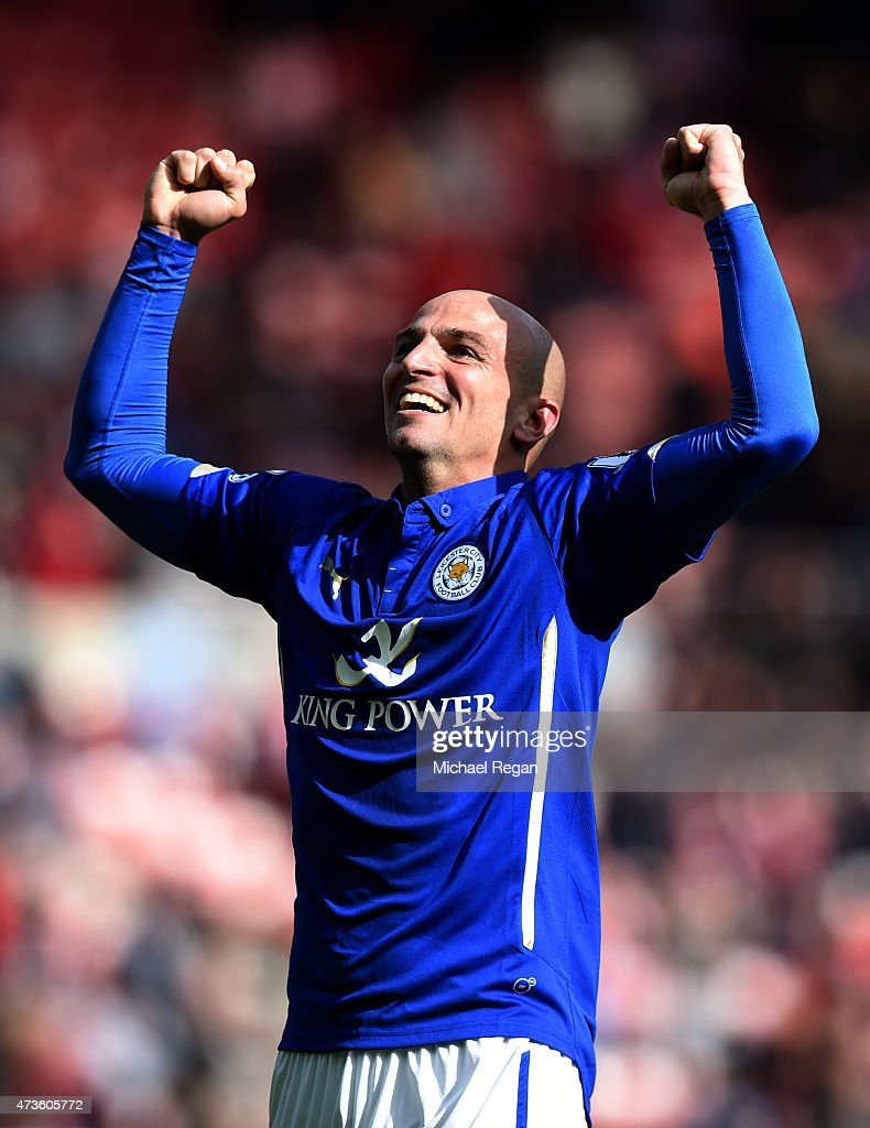 Esteban Cambiasso of Leicester City celebrates avoiding relegation during the Barclays Premier League match between Sunderland and Leicester City at Stadium of Light on May 16, 2015 in Sunderland, England.