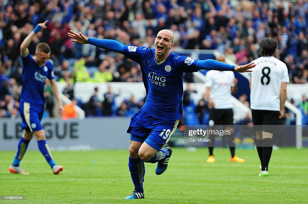 Esteban Cambiasso of Leicester City celebrates scoring his team's fourth goal during the Barclays Premier League match between Leicester City and Queens Park Rangers at The King Power Stadium on May 24, 2015 in Leicester, England.