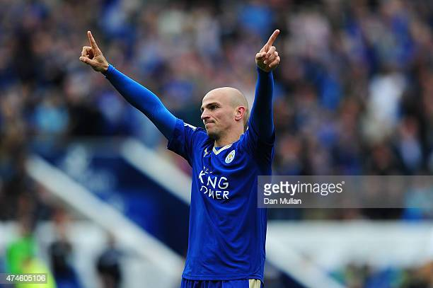 Esteban Cambiasso of Leicester City celebrates scoring his team's fourth goal during the Barclays Premier League match between Leicester City and...