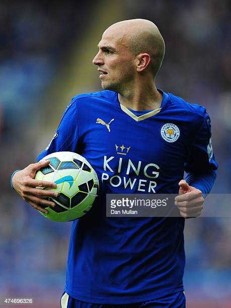 Esteban Cambiasso of Leicester City prepares to take a corner during the Premier League match between Leicester City and Queens Park Rangers at The...
