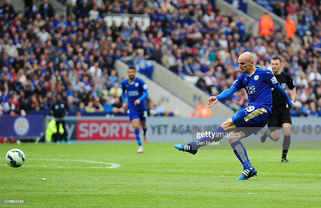 Esteban Cambiasso of Leicester City scores his team's fourth goal during the Barclays Premier League match between Leicester City and Queens Park Rangers at The King Power Stadium on May 24, 2015 in Leicester, England.