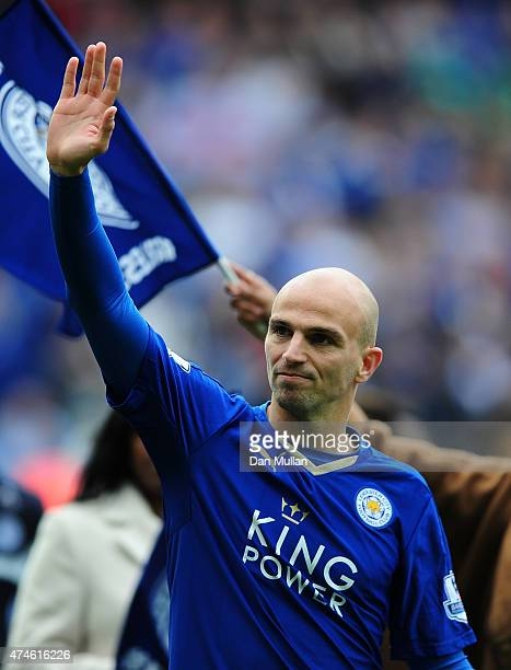 Esteban Cambiasso of Leicester City waves to the fans following the Premier League match between Leicester City and Queens Park Rangers at The King...