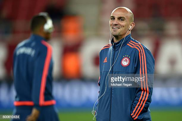 Esteban Cambiasso of Olympiakos looks on prior to the UEFA Champions League Group F match between Olympiacos FC and Arsenal FC at Karaiskakis Stadium...