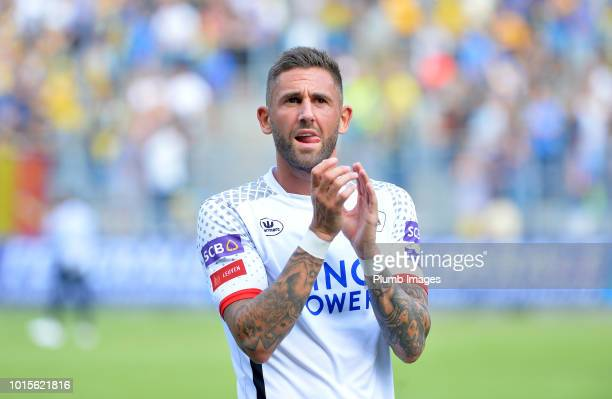 Esteban Casagolda of OH Leuven applauds the travelling fans after the Proximus League match between Royal Union SaintGilloise and OH Leuven at Stade...