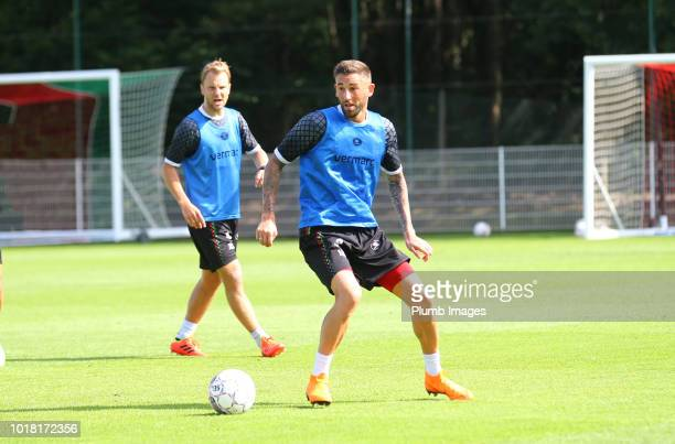 OHL players warm up during an OHL training session on August 17 2018 in Leuven Belgium
