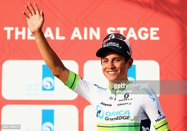 Esteban Chaves of Colombia and Orica Greenedge celebrates on the podium after stage three of the 2015 Abu Dhabi Tour from Al Qattara Souq to Jebel...