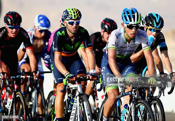 Esteban Chaves of Colombia and Orica Greenedge leads a group of riders during stage three of the 2015 Abu Dhabi Tour from Al Qattara Souq to Jebel...