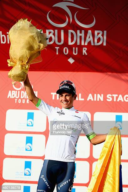 Esteban Chaves of Colombia and Orica Greenedge wearing the young classification white jersey celebrates on the podium after stage three of the 2015...
