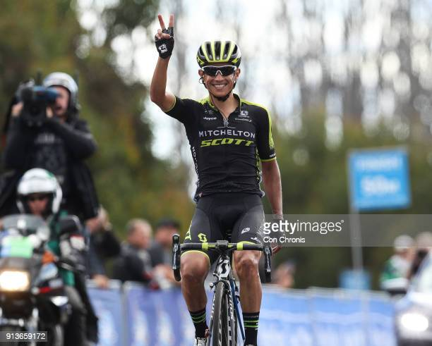Esteban Chaves of Columbia and the MitcheltonScott Team wins the Jayco Herald Sun Tour stage 3 218km road race from Mitchelton Winery Nagambie to...