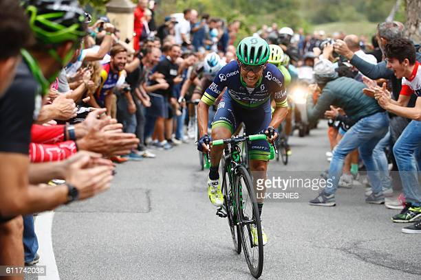 Esteban Chaves of team Orica rides during the 110th edition of the giro di Lombardia a 241 km cycling race from Como to Bergamo on October 1 2016...