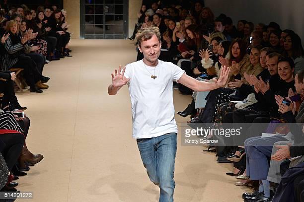 Esteban Cortazar acknowledges the audience during the Esteban Cortazar show as part of Paris Fashion Week Womenswear Fall/Winter 2016/2017 on March...