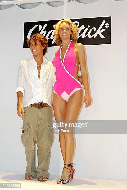 Esteban Cortazar and model wearing swimsuit by Esteban Cortazar for ChapStick