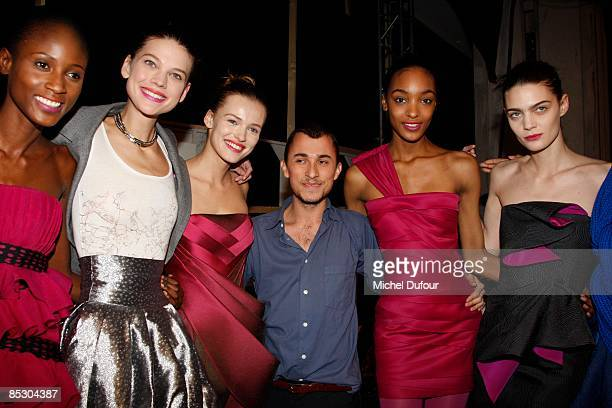 Esteban Cortazer and models attends in Backstage the Emanuel Ungaro ReadytoWear A/W 2009 fashion show during Paris Fashion Week at Le Carrousel du...
