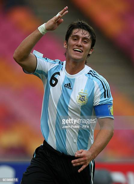 Esteban Espindola of Argentina celebrates after scoring his team's first goal during the FIFA U17 World Cup Group A match between Argentina and...