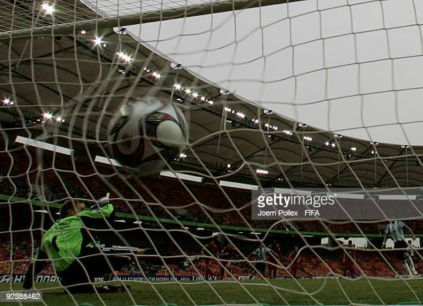 Esteban Espindola of Argentina scores his team's first goal during the FIFA U17 World Cup Group A match between Argentina and Germany at the Abuja...