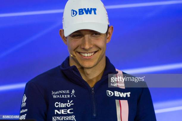 Esteban from France Force India in the FIA official press conference during the Formula One Belgian Grand Prix at Circuit de SpaFrancorchamps on...