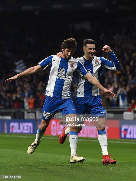 Esteban Granero of Espanyol celebrates with team mate Hermoso after scorinf the opening goal during the La Liga match between RCD Espanyol and SD...