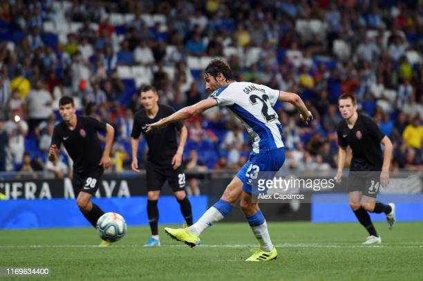 Esteban Granero of Espanyol misses a penalty during the UEFA Europa League Play Off match between Espanyol and Zoryan Luhansk at RCDE Stadium on...