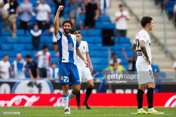 Esteban Granero of RCD Espanyol celebrates after scoring the opening goal conceded by referee Del Cerro Grande on advice from the Video Assistant...