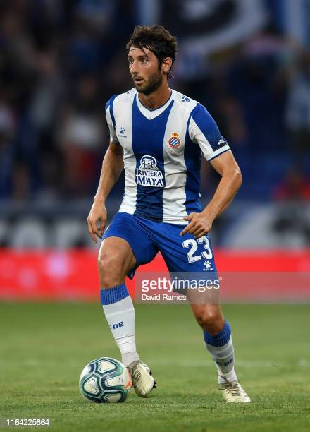 Esteban Granero of RCD Espanyol runs with the ball during the UEFA Europa League Second Qualifying round 1st leg match between RCD Espanyol and...