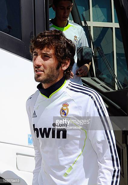 Esteban Granero of Real Madrid arrives to participate in the Adidas training with local youth soccer players on August 5 2010 in the Westwood section...