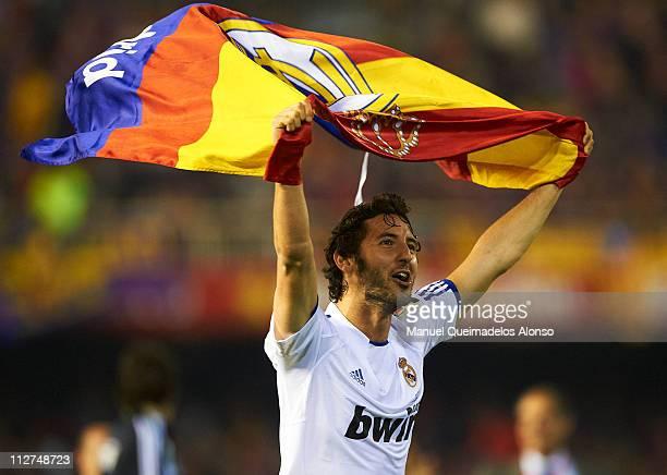 Esteban Granero of Real Madrid celebrates after the Copa del Rey final match between Real Madrid and Barcelona at Estadio Mestalla on April 20 2011...