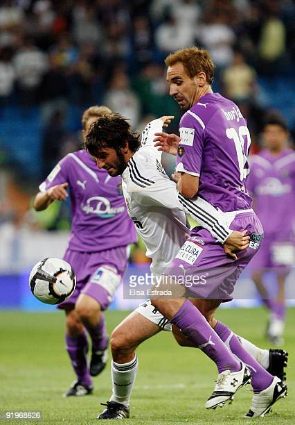 Esteban Granero of Real Madrid fights for the ball during the La Liga match between Real Madrid and Real Valladolid at Estadio Santiago Bernabeu on...