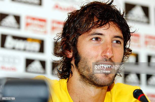 Esteban Granero of Real Madrid gives a press conference after a training session at Valdebebas on July 24 2009 in Madrid Spain