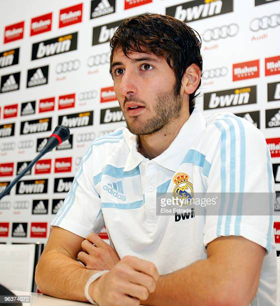 Esteban Granero of Real Madrid gives a press conference after a training session at Valdebebas on February 3 2010 in Madrid Spain