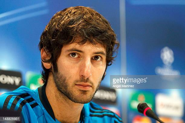 Esteban Granero of Real Madrid looks on during a press conference ahead of the UEFA Champions League Semi Final second leg match between Real Madrid...