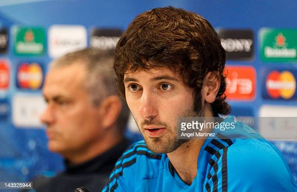 Esteban Granero of Real Madrid talks to the media during a press conference ahead of the UEFA Champions League Semi Final second leg match between...