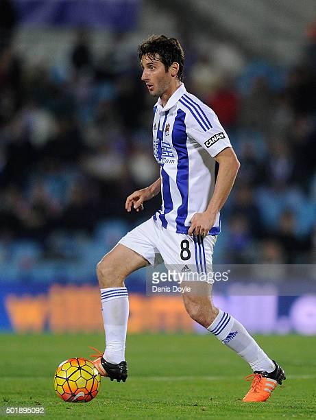 Esteban Granero of Real Sociedad de Futbol in action during the La Liga match between Getafe CF and Real Sociedad de Futbol at Coliseum Alfonso Perez...